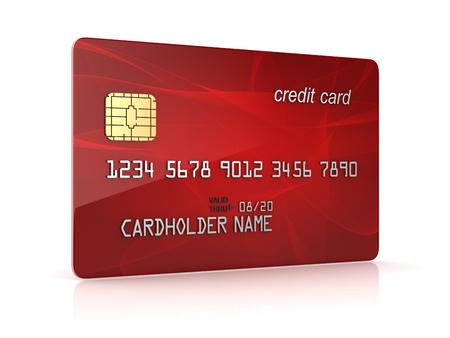 빨간색 신용 카트의 3d 렌더링입니다. 컴퓨터 이미지를 생성합니다.