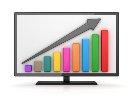 흰색 모니터 화면에서 다채로운 막대 그래프입니다. 3d 렌더링 및 컴퓨터 생성 이미지입니다.