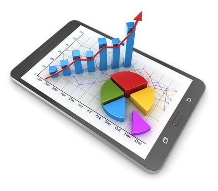 터치 스크린 태블릿와 함께 비즈니스 개념입니다. 3d 렌더링 및 컴퓨터 생성 이미지입니다. 스톡 콘텐츠