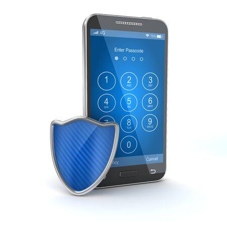 휴대 전화를 보호하십시오. 3d 렌더링 및 컴퓨터 생성 이미지입니다. 스톡 콘텐츠