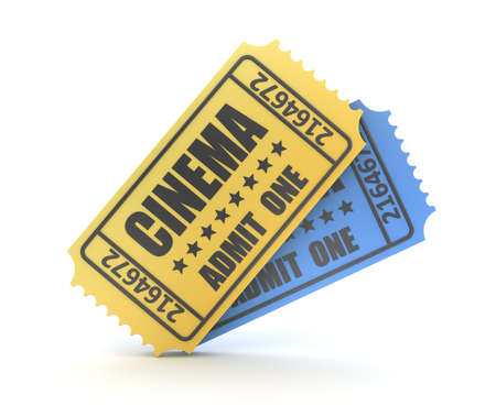 3d render of two cinema ticket. Computer generated image.