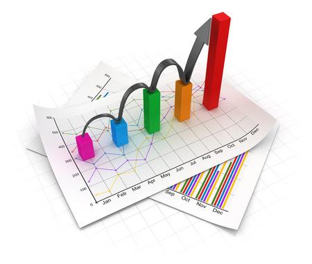 ビジネス グラフ、ドキュメント。3 d のレンダリングおよびコンピューター生成イメージ。