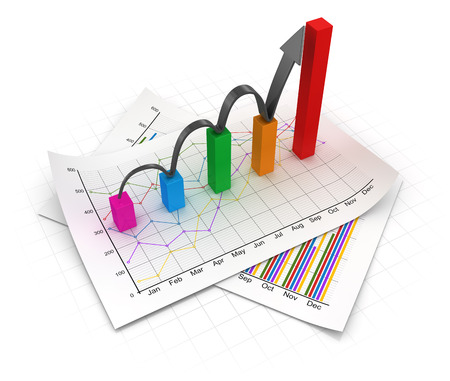 Business chart and documents. 3d render and computer generated image. Stock Photo