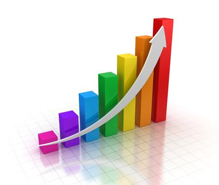 カラフルなビジネス グラフ。3 d のレンダリングおよびコンピューター生成イメージ。