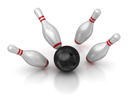 ボウリングのボールと九柱戯。3 d のレンダリングおよびコンピューター生成イメージ。