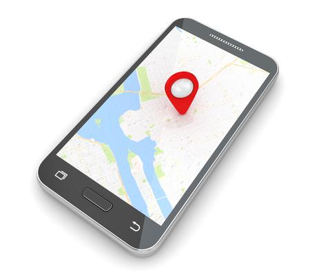 탐색 소프트웨어가 탑재 된 휴대 전화. 3d 렌더링 및 컴퓨터 생성 이미지입니다.