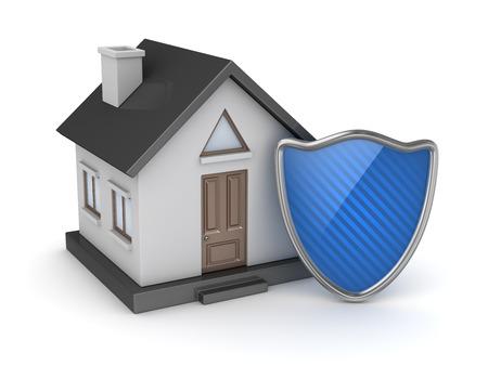 검은 집과 파란색 방패입니다. 3d 렌더링 및 컴퓨터 생성 이미지입니다. 스톡 콘텐츠