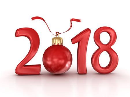 新年2018。3d レンダーおよびコンピュータ生成イメージ。 写真素材