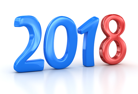 New year 2018. 3d render and computer generated image. Stock Photo