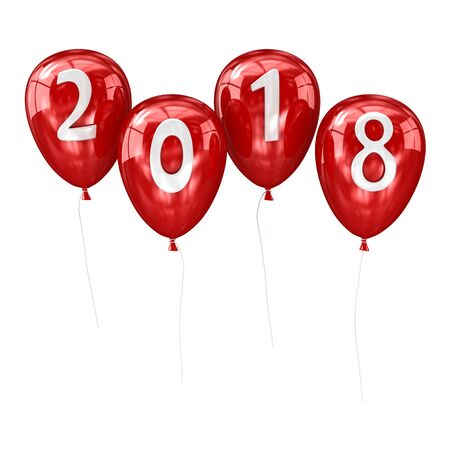 新年2018風船。3d レンダーおよびコンピュータ生成イメージ。