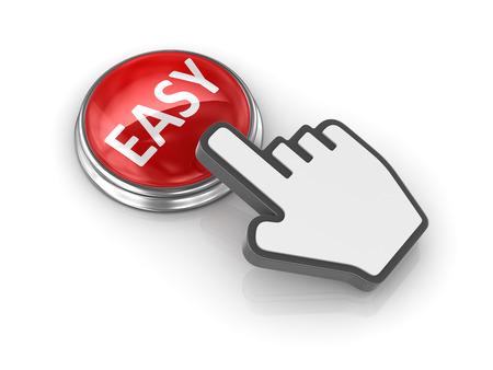 ハンド カーソルを持つ簡単なボタン。3 d のレンダリングおよびコンピューター生成イメージ。