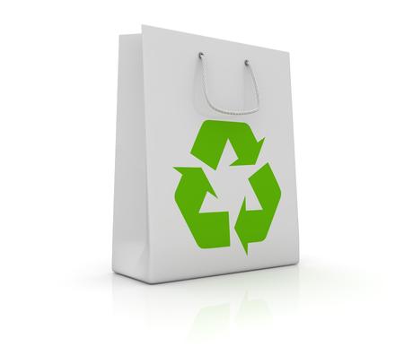 白のショッピング バッグにリサイクルのシンボル。3 d のレンダリングおよびコンピューター生成イメージ。 写真素材