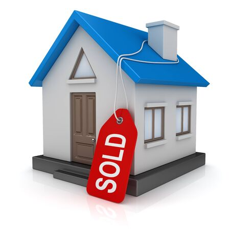 Blue home with sold tag. 3d render and computer generated image.