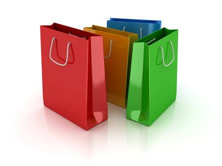 다채로운 쇼핑 가방입니다. 3d 렌더링 및 컴퓨터 생성 이미지입니다. 스톡 콘텐츠