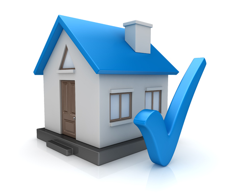 Blue home with check mark symbol. 3d render and computer generated image.
