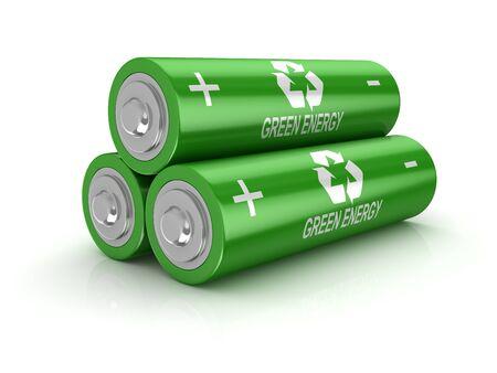 격리 된 녹색 배터리입니다. 3d 렌더링 및 컴퓨터 생성 이미지입니다.