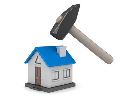 Blue home with hammer. 3d render and computer generated image. 版權商用圖片
