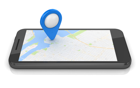 Gps concept with mobil phone. 3d render and computer generated image.