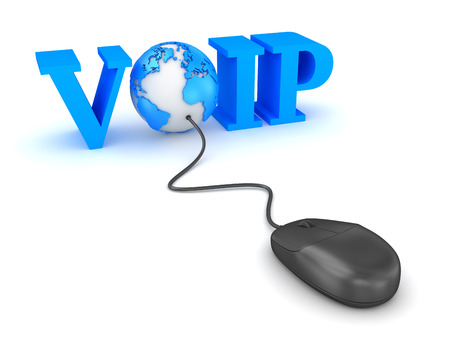 Voip concept with world and computer mouse. 3d render and computer generated image. 版權商用圖片