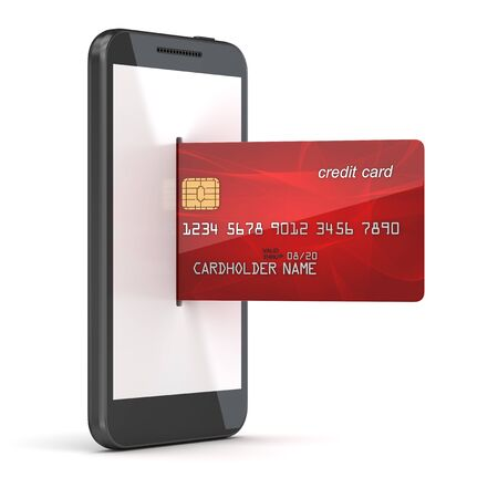 Red credit card in to phone , 3d render and computer generated image. 版權商用圖片