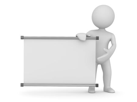Whiteboard and white man , 3d render and computer generated image. 版權商用圖片