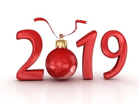 New year 2019. 3d render and computer generated image.