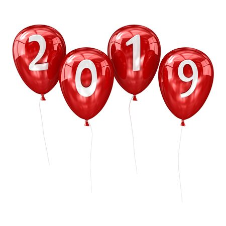 New year 2019 balloon. 3d render and computer generated image.