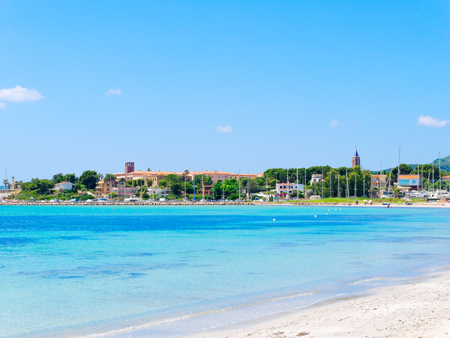 View of the beautiful sea and Fertilia in the background. The municipality of Alghero, Sardinia.