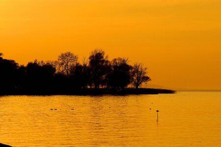 Sunset at lake Balaton                                 photo
