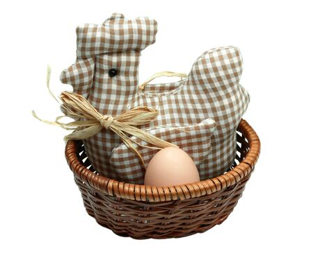 brooder: Mother-hen in the basket hatching layed egg on the white background. Easter.