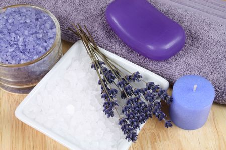 lavander: Spa resort therapy composition - lavander flowers, candle and salt crystals