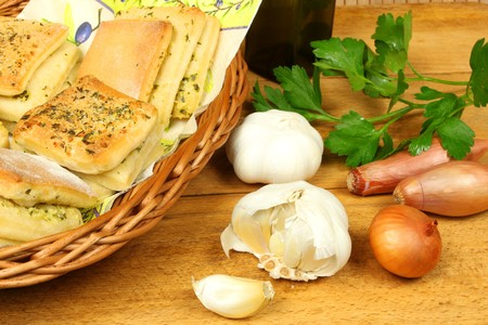 Buns with spices and fresh parsley, onion and garlic photo