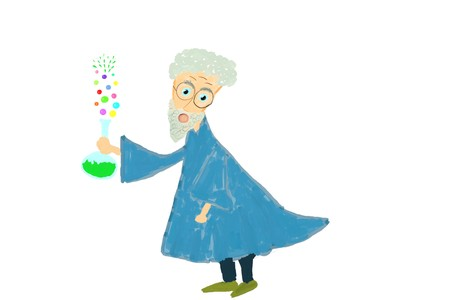 Crazy scientist or professor holding laboratory flask with chemical substance producing colorful bubbles. Funny illustration