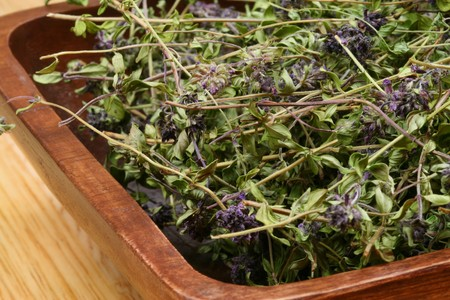 A wooden bowl full of dried herbs - Thymus serpyllum fot cough Stock Photo - 6997280