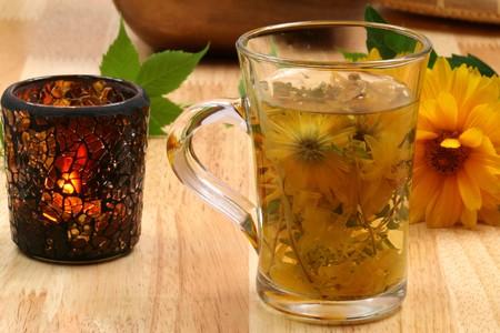 water thyme: Reci�n infundido taza de t� de hierbas. Tarde de bebida saludable  Foto de archivo