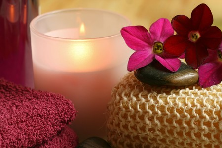 Spa and wellness therapy in claret color. Relax moments photo
