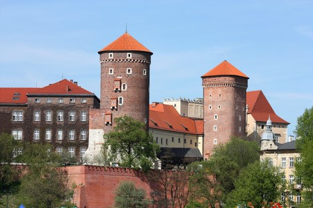 cracovia: Spring view on Wawel royal castle in Poland Stock Photo