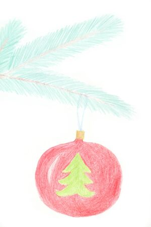 glas bal: Glass ball hanging on the branch of Christmas tree. Drawing made made with wax crayons  Stockfoto