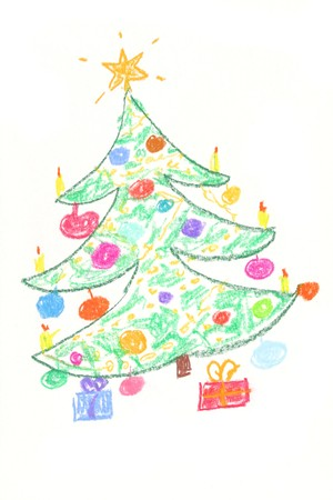 christmas atmosphere: Beautiful decorated Christmas tree with gifts - drawing by children.