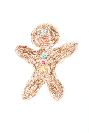 smiled: Gingerbread man smiled - drawing by child with wax cryons