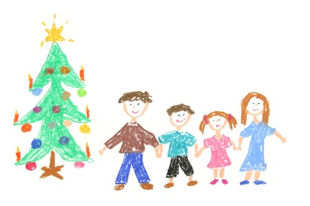 christmas motive: Happy family with decorated Christmas tree. Childs drawing made with pastel crayons