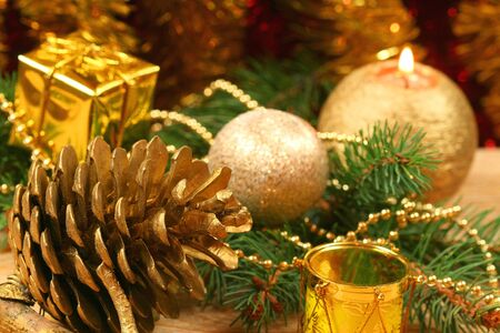 Closeup of Christmas wreath with golden ornaments photo