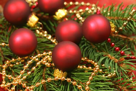 claret: Macro of Christmas wreath - small glass balls in claret color