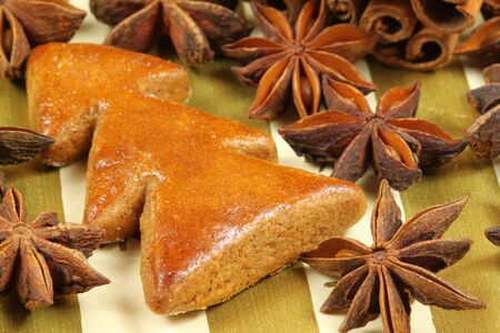 aniseed: Gingerbread Christmas tree with whole aniseed stars and cinnamon stick. Christmas beautiful decoration
