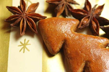 aniseed: Gingerbread Christmas tree with whole aniseed stars. beautiful Christmas decoration