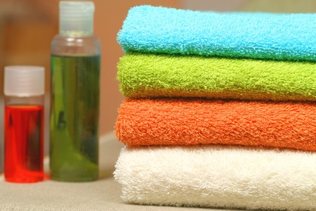 gels: Bath and spa tools - bath gels and colorful towels