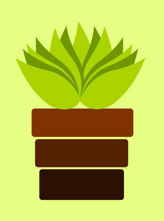 Brown pot with plant on light green background Vector