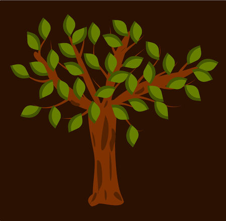 Tree with green leaves on brown background.  Vector