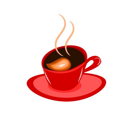 frijoles rojos: Abstracto espresso café en la taza Roja