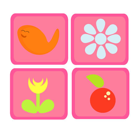 Colorful pink cute nature icons - fish, flower and apple Vector